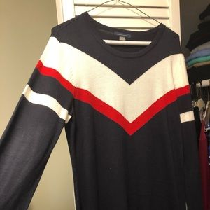 Navy blue - sweater Dress - red and white chevron